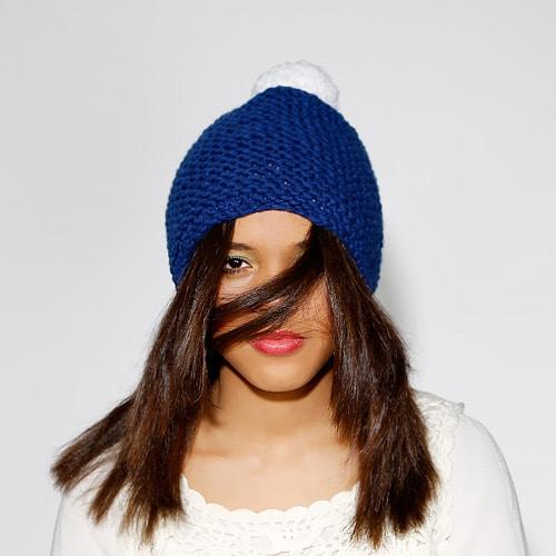 Wollmütze Blau Weiss