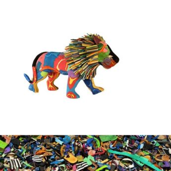 Löwe aus recycelten Flip Flops
