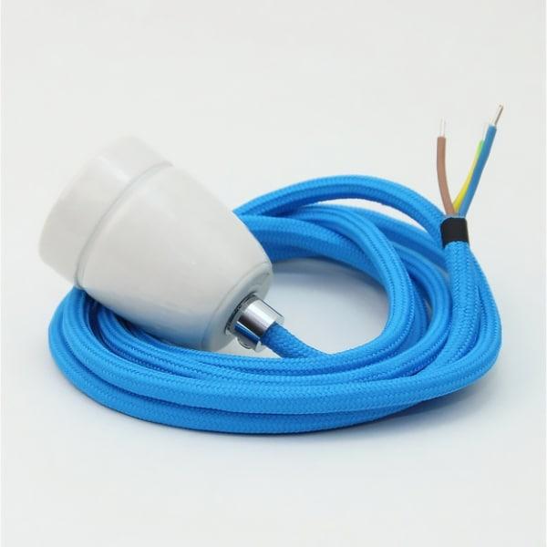 Lampenpendel blau mit Porzellanfassung