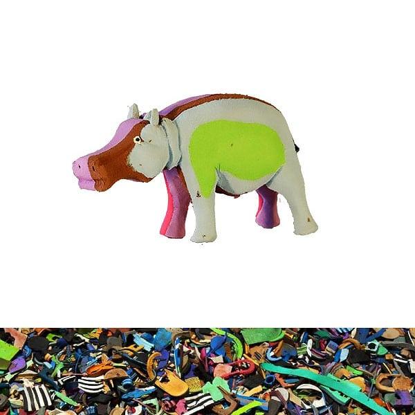 Nilpferd aus recycelten Flip Flops