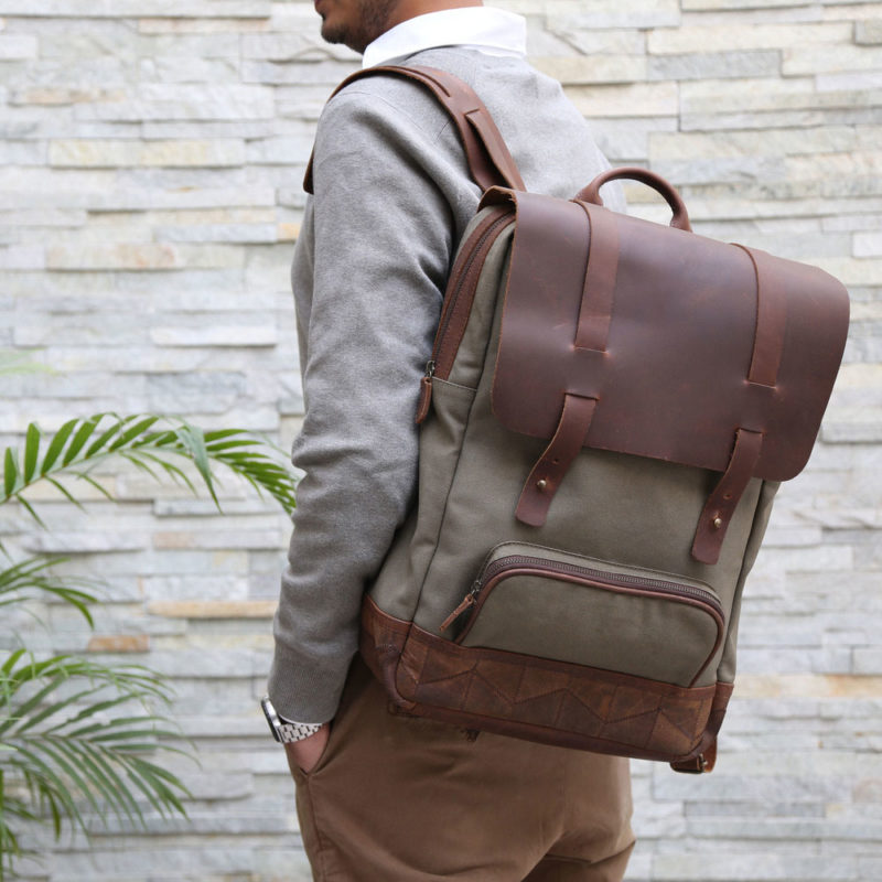 Rucksack aus recyceltem Leder