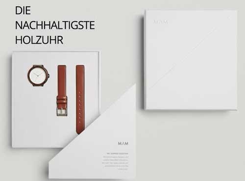 Armbanduhr aus Holz und Edelsthal