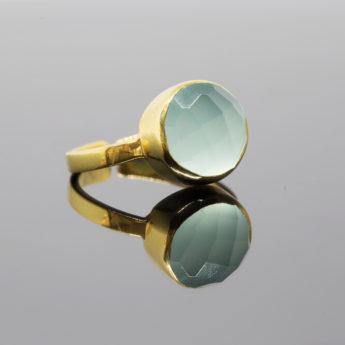 Fingerring Blauer Chalcedon