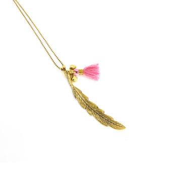 Halskette Feder Rosa